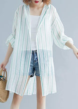 Load image into Gallery viewer, Style hooded chiffon Tunic Work green striped shirts summer
