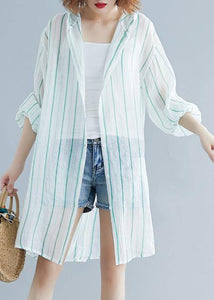 Style hooded chiffon Tunic Work green striped shirts summer