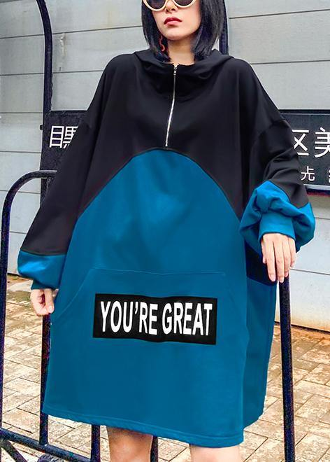 Style hooded patchwork dresses Fashion Ideas blue Letter Dress