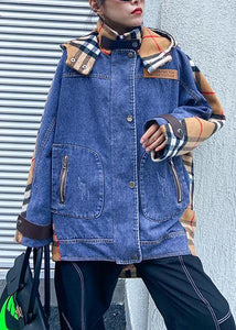 Stil Patchwork Tuniken mit Kapuze für Frauen Denim blau Plus Size Clothing Outwear