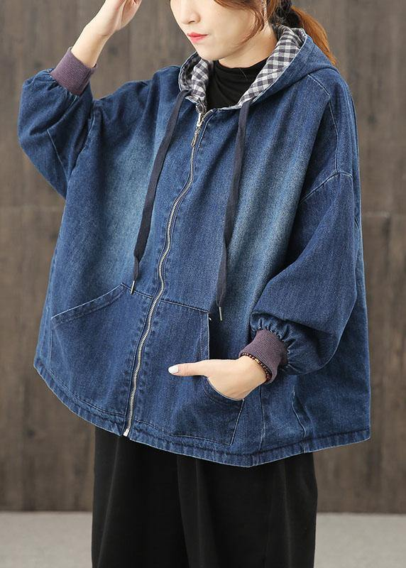 Style hooded pockets clothes For Women Photography denim blue blouses