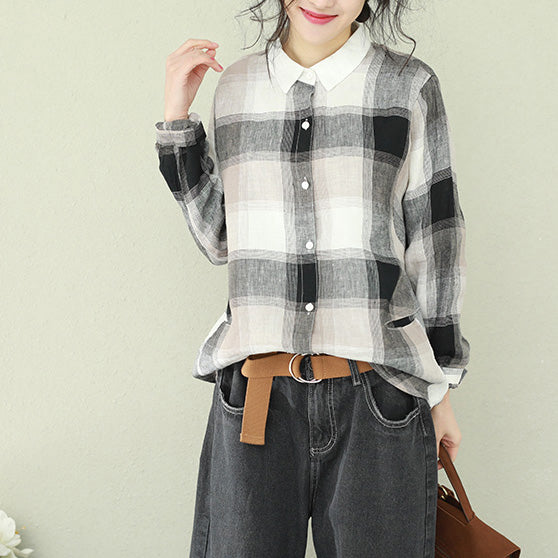 Style lapel linen for women Cotton black Plaid short blouses