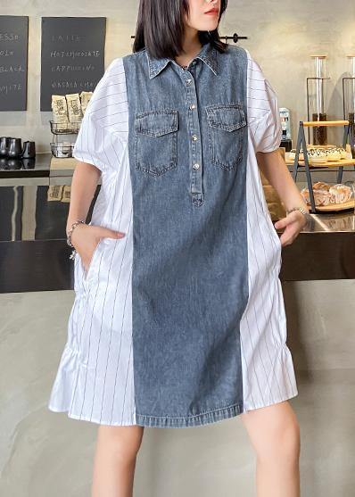 Style lapel quilting dresses Runway white striped patchwork denim Dresses