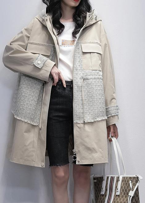 Style light beige Fine trench coat Work hooded patchwork  outwears