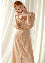 Load image into Gallery viewer, Style light orange plaid blended Tunics o neck Maxi fall Dress