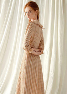 Style light orange plaid blended Tunics o neck Maxi fall Dress