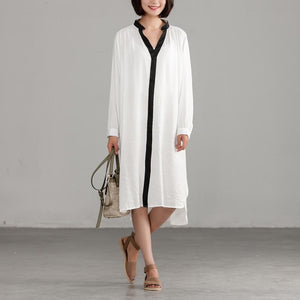 Style linen cotton quilting clothes Pakistani White Long Sleeve Loose Irregular Dress