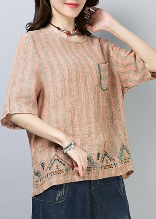Style linen top silhouette Omychic Casual Linen Striped Short Sleeve Blouse