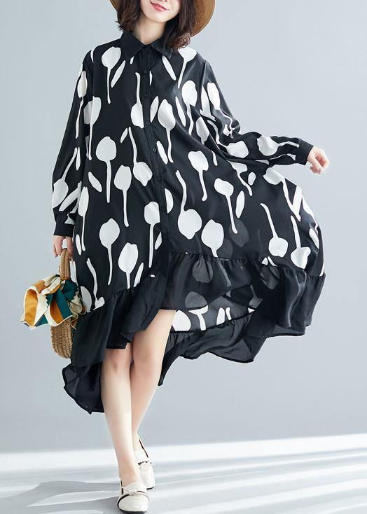 Style low high design cotton dress Work Outfits black prints shirt Dresses summer