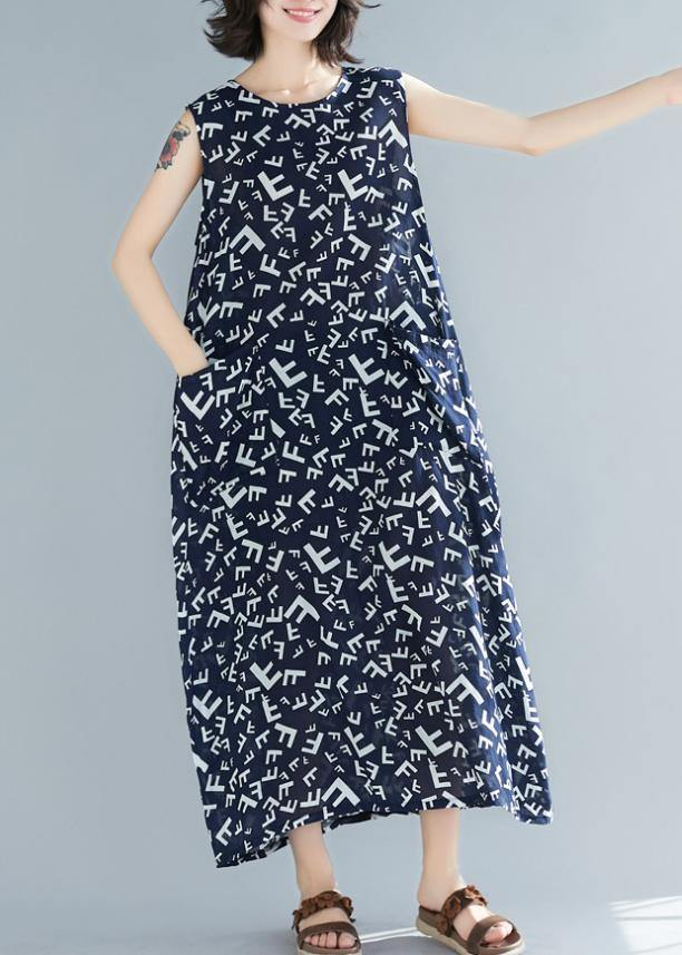 Style navy print cotton dresses o neck sleeveless A Line summer Dress