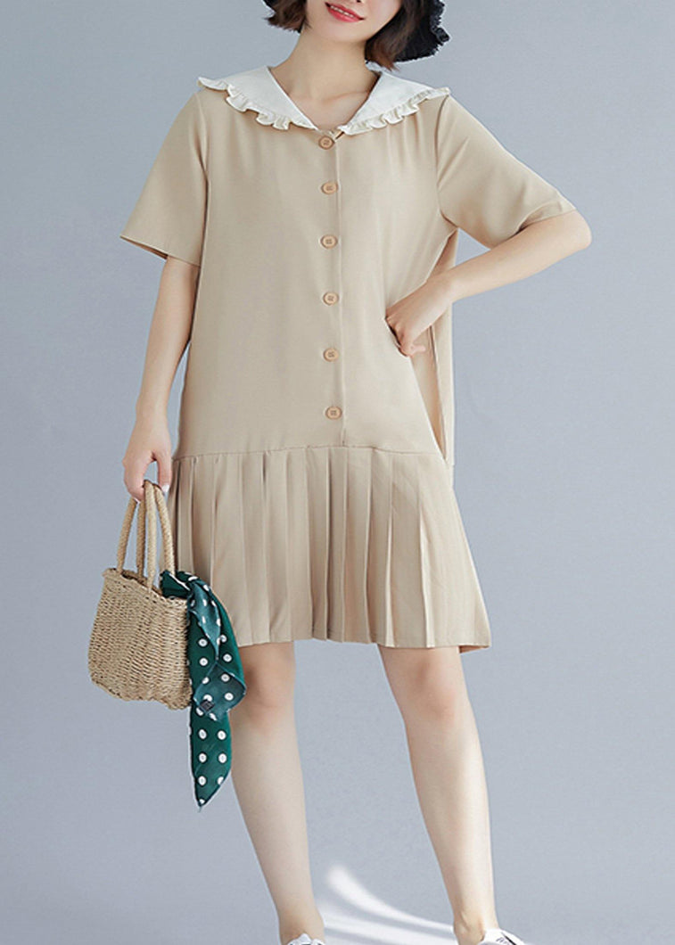 Style nude ruffles hem cotton Long Shirts Sailor Collar A Line summer Dresses