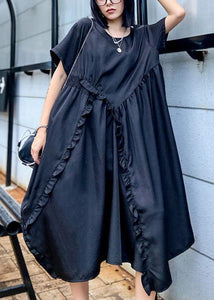 Style o neck Ruffles patchwork outfit pattern black Kaftan Dresses