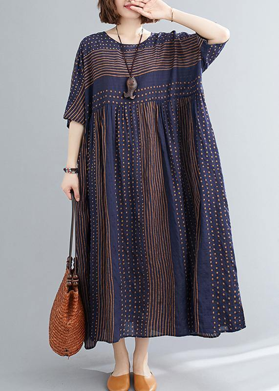 Style o neck exra large hem cotton summer pattern Work blue striped loose Dress