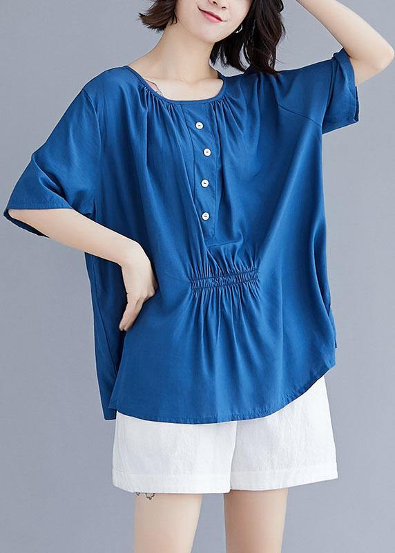 Style o neck half sleeve cotton box top Wardrobes blue blouse summer