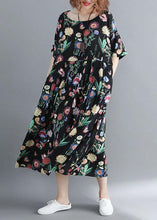 Load image into Gallery viewer, Style o neck linen summer quilting clothes Catwalk black print Dress