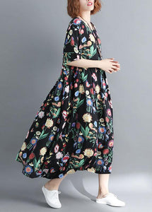 Style o neck linen summer quilting clothes Catwalk black print Dress