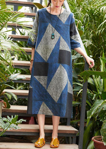 Style o neck patchwork Robes Work blue gray print Dress summer