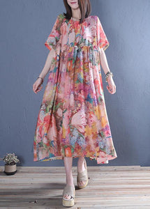 Style o neck wrinkled cotton tunic dress Fashion pink print Maxi Dress