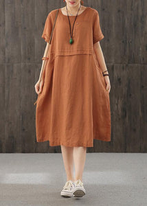 Style orange Long Shirts o neck patchwork cotton Dress