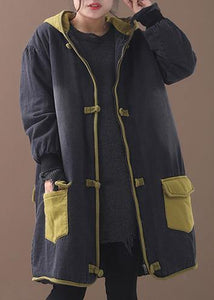 Style patchwork Fine Long coats design Chinese Button yellow hooded coats