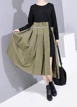 Load image into Gallery viewer, Style patchwork cotton o neck dresses pattern black Dress