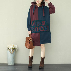 Style patchwork cotton tops women Plus Size Sleeve blue burgundy daily tops