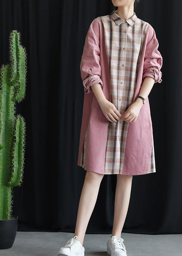 Style pink patchwork Plaid Cotton clothes lapel tie waist Plus Size fall Dresses