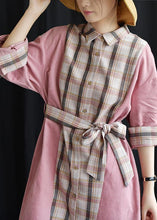 Load image into Gallery viewer, Style pink patchwork Plaid Cotton clothes lapel tie waist Plus Size fall Dresses