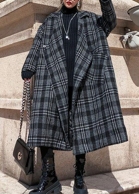 Style plaid Plus Size clothes Neckline Square Collar pockets fall women coats