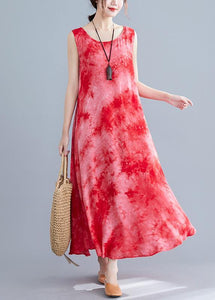 Style red print cotton linen clothes For Women sleeveless pockets long summer Dresses