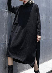 Style side open cotton tunic top Work Outfits black A Line Dresses fall