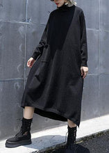 Load image into Gallery viewer, Style side open cotton tunic top Work Outfits black A Line Dresses fall