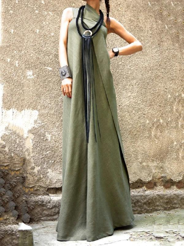 Style sleeveless patchwork linen outfit Photography army green Dress