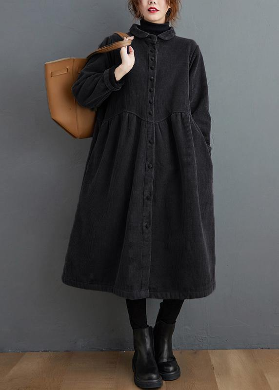 Style thick Cinched Fine trench coat black oversized coats