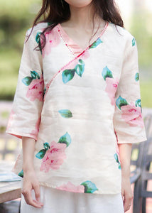 Style v neck linen tunic design pink print blouse