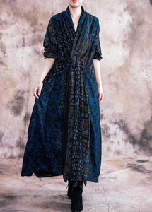 Style v neck pockets Outfits blue print loose Dress fall
