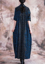 Load image into Gallery viewer, Style v neck pockets Outfits blue print loose Dress fall
