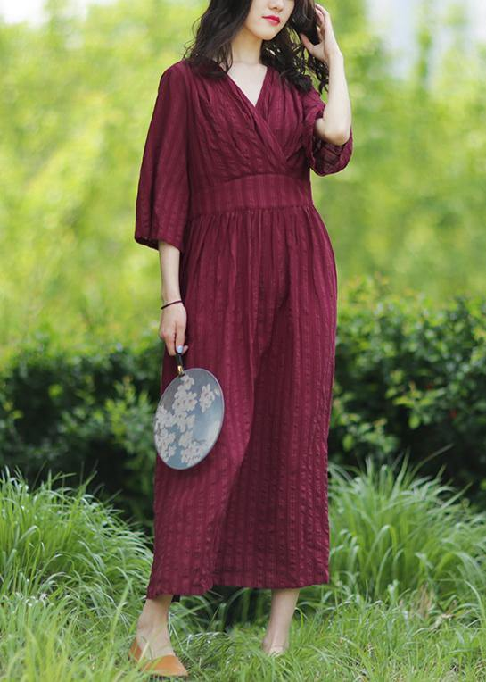 Style v neck tie waist linen clothes Fashion Ideas burgundy Dresses