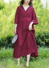 Load image into Gallery viewer, Style v neck tie waist linen clothes Fashion Ideas burgundy Dresses