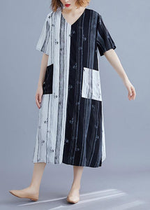 Style white Long v neck patchwork Traveling summer Dress