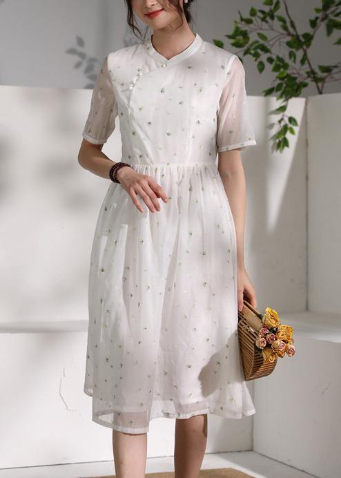 Style white clothes stand collar wrinkled oversized Dress