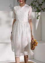Load image into Gallery viewer, Style white clothes stand collar Cinched oversized Dress