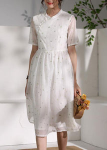 Style white clothes stand collar Cinched oversized Dress