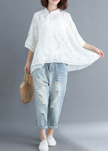Style white lace top silhouette Women Button Down Vestidos De Lino Summer blouse