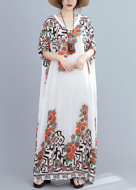 Style white print dress v neck Batwing Sleeve long Dresses