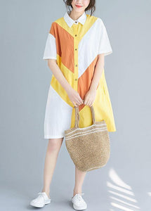Style yellow Cotton Tunics lapel patchwork baggy summer Dresses