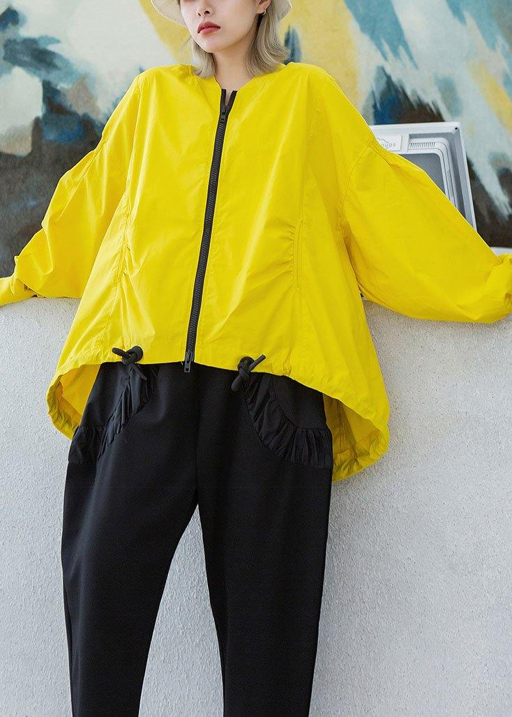 Style yellow Plus Size box short coat Photography drawstring hem fall outwear