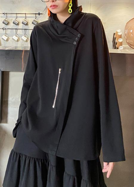Style zippered Three-dimensional decoration tops women black baggy blouse