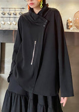 Load image into Gallery viewer, Style zippered Three-dimensional decoration tops women black baggy blouse