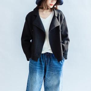 Stylish black woolen coats double breast short winter jackets casual style